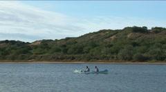 Canoëing on Sundays river Stock Footage