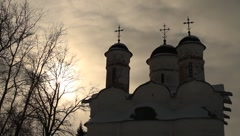 Beautiful old Vosnesenskiy church in Alexandrovskiy monastery Suzdal at sunset Stock Footage