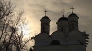 Beautiful old Vosnesenskiy church in Alexandrovskiy monastery Suzdal at sunset Stock Footage