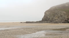 Porthtowan beach sea mist timelapse Stock Footage