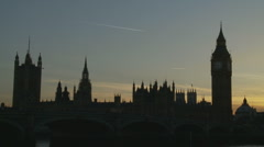 Plane over Parliment, UK Stock Footage
