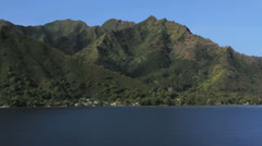 Moorea hill over Opunohu Bay Stock Footage