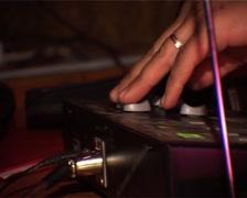 DJ hand in strobe light Stock Footage