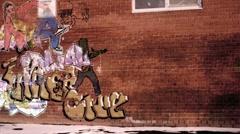 Graffiti on brick wall animation 4 Stock Footage