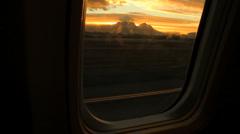 Table Mountain Sunset through Airplane Window GFHD Stock Footage