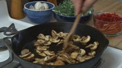 Cooking Mushrooms 2 Stock Footage