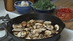 Cooking Mushrooms 1 Stock Footage