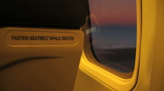 Fasten Seatbelt and Airplane Window GFHD Stock Footage