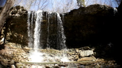 Wide Angle view bottom of Waterfall - stock footage