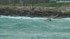 Windsurf storm riders in Mediterranean Sea. Slow Motion. Beach start. Stock Footage