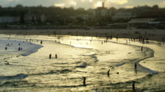 Busy Beach sunset timelapse - stock footage