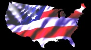 Map Outline & US Flag Stock Footage