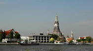 Wat Arun, Buddhist Temple of the Dawn in Bangkok, Thailand, Chao Phraya River Stock Footage