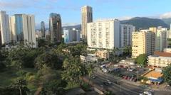 Honolulu skyline and traffic on a street Stock Footage