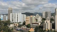 Honolulu pans the skyline Stock Footage