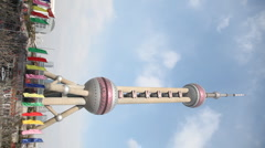 Oriental Pearl Tower in Shanghai China Stock Footage