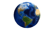 Small Voxel Planet Earth Globe Spin Loop on White  Stock Footage
