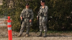 Military police outside Aviano Air Base Stock Footage