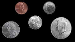 US Coin Rotations Loop Alpha Stock Footage