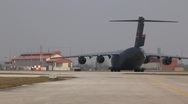 Stock Video Footage of Air Force C-17 taxis on runway (HD) c