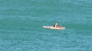 Stock Video Footage of Puerto Rico - People: Brave Man fishing in Kayak at Sea