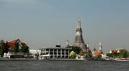 Wat Arun, Buddhist Temple of the Dawn in Bangkok, Thailand, Chao Phraya River Stock Footage