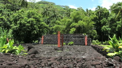 Tahiti Marae pyramid with stele Stock Footage