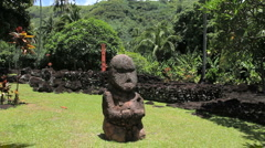Tahiti god figures at a Marae  Stock Footage