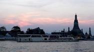 Wat Arun, Twilight, Temple of the Dawn in Bangkok, Thailand, Chao Phraya River Stock Footage