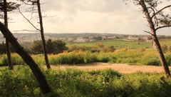 Beautiful view of the city from the countryside(HD)c Stock Footage