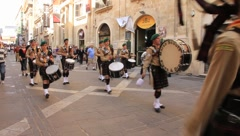Drum marching band in the streets in Malta Stock Footage