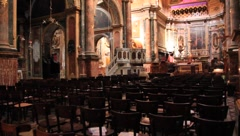 Inside view of beautifully decorated cathedral in Malta(HD)c Stock Footage