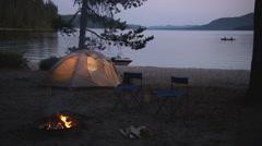Campfire Canoe 33 Stock Footage