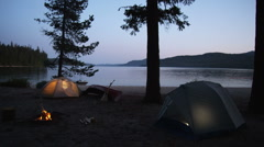 Lakeshore Tent Camp 34 Stock Footage
