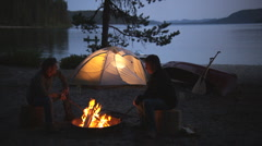 Tent Campfire 38 Stock Footage