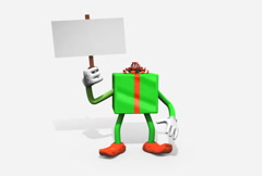 Gift Character Holding Blank Picket Sign Loop (NTSC Stock Footage