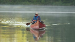 Retired Man Red Canoe 71 Stock Footage