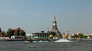 Stock Video Footage of Wat Arun, Buddhist Temple of the Dawn in Bangkok, Thailand, Chao Phraya River