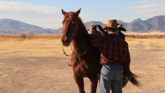 Boy Mounts a Horse (HD) co Stock Footage