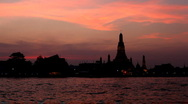 Wat Arun, Twilight, Temple of the Dawn in Bangkok, Thailand, Chao Phraya River Stock Footage