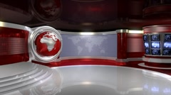Virtual News Studio 3 with Globe Animation Stock Footage