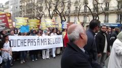 Paris, France, Muslim Demonstration, Against Islamophobia Stock Footage