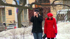 Tourists with a camera Stock Footage