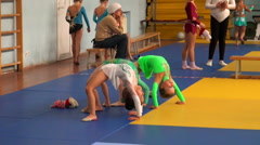 Rhythmic gymnastics training - stock footage