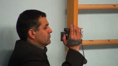 A man takes on the camcorder - stock footage