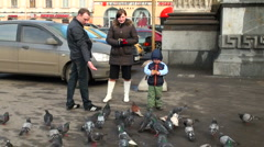 Family  feeds pigeons Stock Footage