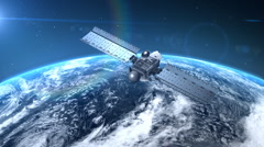 Satellite is orbiting the Earth - stock footage
