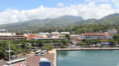 Tahiti view of Papeete city Stock Footage