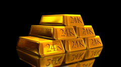 Gold Bricks Bullion Loop Animation Stock Footage