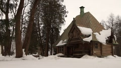 Wooden house of Abramtsevo state historical artistic and literary museum - stock footage